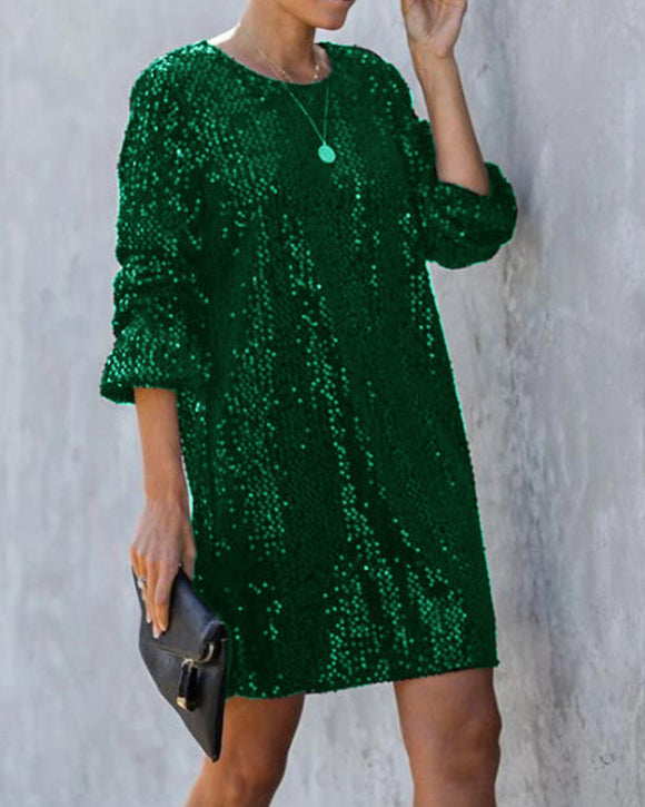 Lantern Sleeve Round Neck Sequins Lace-up Mini Dresses Green