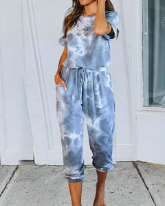 Tie Dye Two-piece T-shirt and Elastic Waist Pants Set