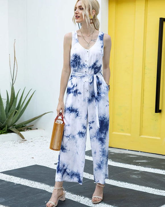 Tie Dye Single-breasted Drawstring Jumpsuit V-neck Printed Rompers
