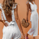 Square Collar Ruffles Straps Frill Trimming Jumpsuit