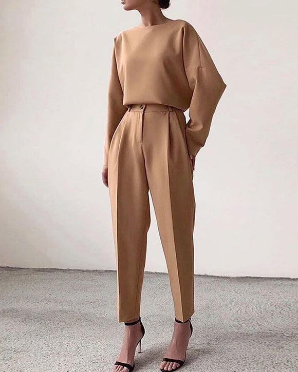 T-shirt And High Waist Cropped Suit Pants Two-piece