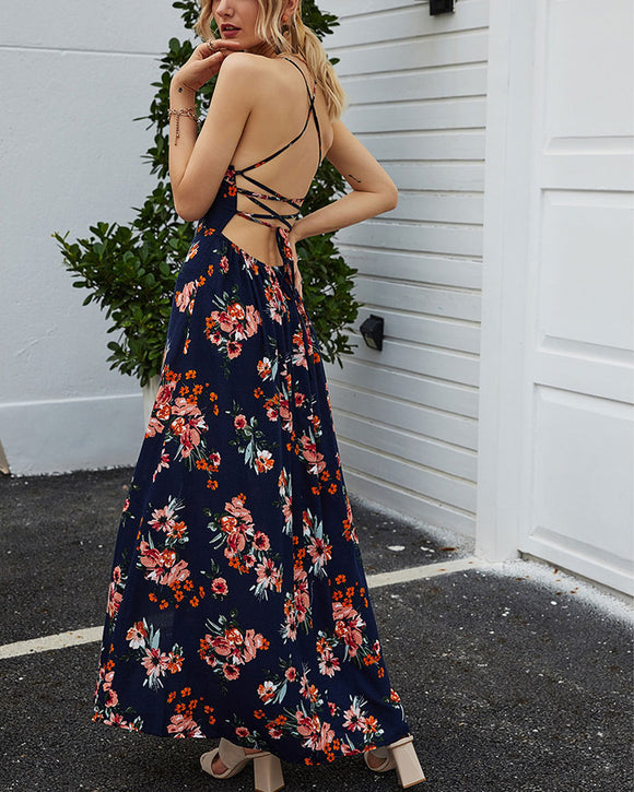 Suspenders Backless Lace-up Maxi Dresses Floral Dresses Slit Leg