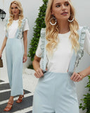 Lace Lotus Leaf Shirred Frill Suspenders Ruffle Jumpsuit