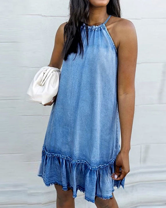 Halter Backless Tassel Denim Mini Dresses