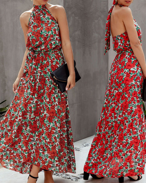 Floral Polka Dot Halter Backless Irregular Hem Maxi Dresses