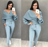 Sexy Multicolor Strapless Sweater Knit Sports Suit
