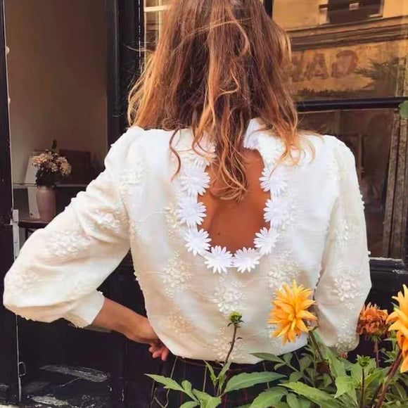 Embroidered Daisy Design Back Hollow Bubble Sleeve Stand Collar Shirt