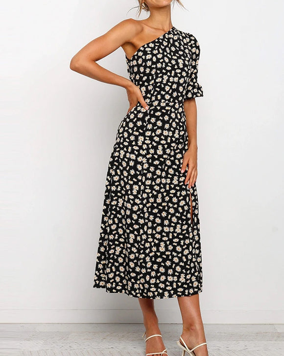 One Shoulder Daisy Floral Split Midi Dresses