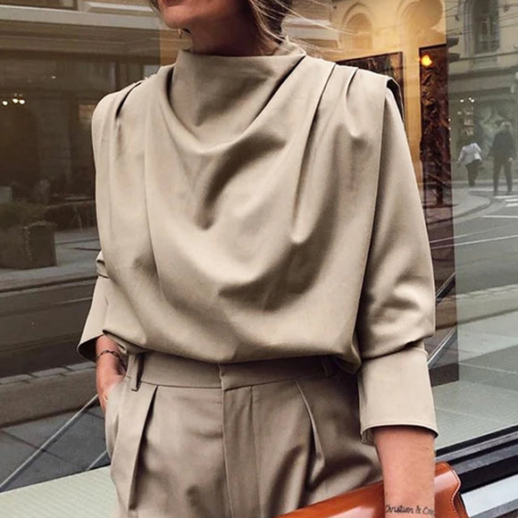 A High Collar Khaki Blouse Long Sleeve