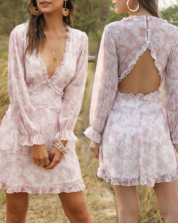 Sexy V-neck Backless Floral Bubble Layered Mini Dresses