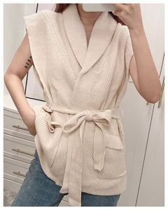 Pile Collar Knit Lace-up Elastic Waist Outerwear