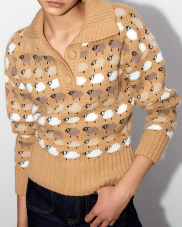 Knit Single-breasted High-collared Floral Sweater
