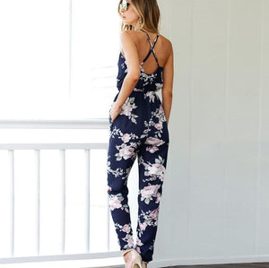Women's Cinched Waist Backless Jumpsuit