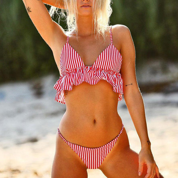 Sweet  Striped Printed Flouncing Swimwear