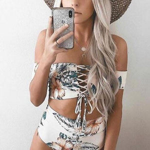 Summer Off  Shoulder Floral Printed Strappy Swimwear