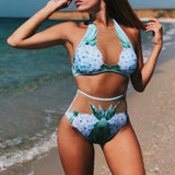 Fashion Grenadine Split Joint Floral Embroidery Swimwear