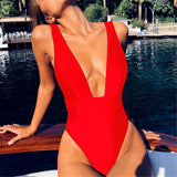 Summer Plain Deep V Collar Defined Waist Swimwear
