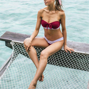 Chic Plain Strappy Color Block Swimwear