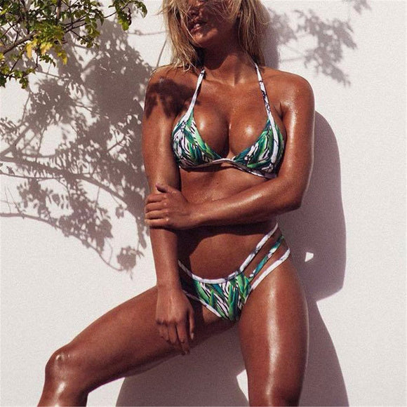 Sexy Leaves Printed Elastic Bikini