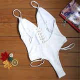 Sexy Plain V Collar Spaghetti Straps One-Piece Swimwear