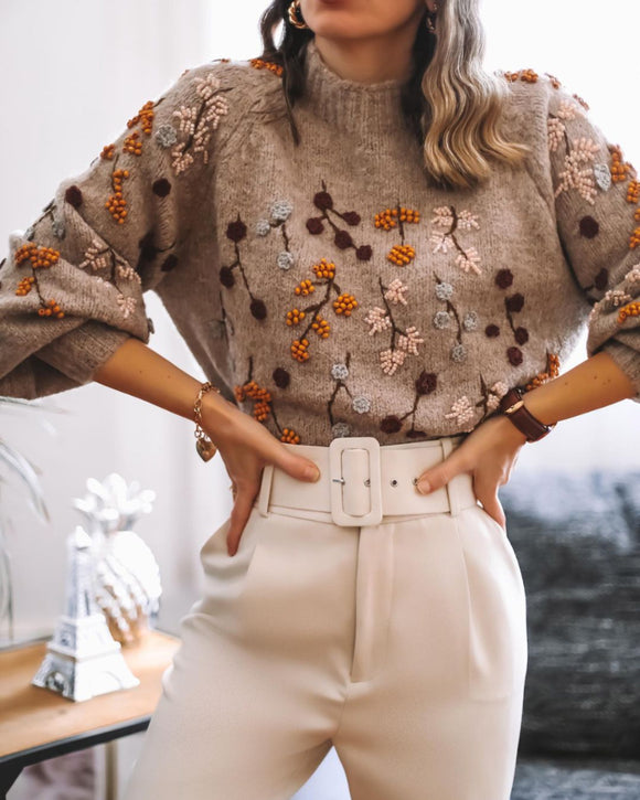 Round Neck Knit Beaded Floral Sweaters