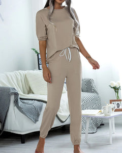 Casual Puff Bubble Sleeves Lace-up Loungewear Two-piece Set