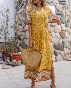 Bohemia Boho V-neck Floral Pleated Beach Maxi Dresses