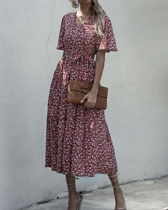 V-neck Belt Polka Dot Floral Maxi Dresses