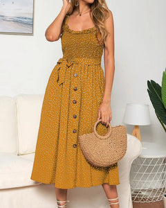 Suspenders Polka Dot Elastic Waist Single-breasted Maxi Dresses