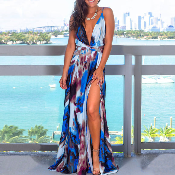 Blue Sexy Sling Colorful Floral Evening Party Maxi Dresses