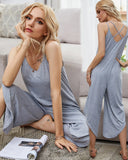 V-neck Vest Backless Cross Suspenders Jumpsuit