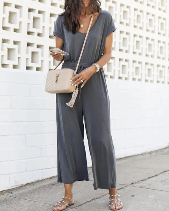 V-neck Elastic Waist Lace-up Jumpsuit Cropped Trousers