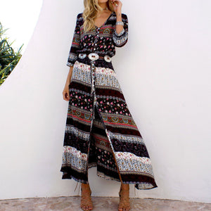 Bohemian Print Dress Beach Skirt V-neck 1/2 Sleeves Plus Size Boho Floral Dresses
