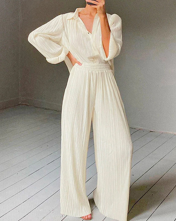 Beige Lapel Pleated Shirt Loose Pants Long Sleeve Two-piece Set