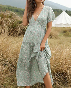V-neck Floral Ruffles Split Leg Side Maxi Dresses