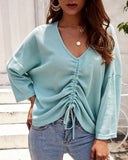 Women's Deep V Neck Loose Pleated Long Sleeve Sweater