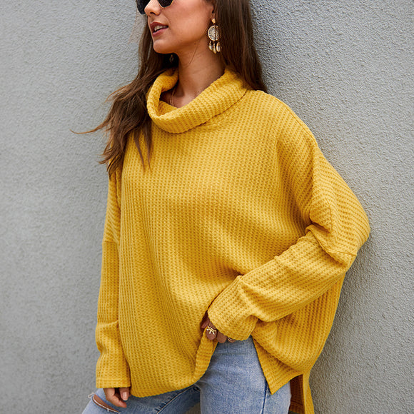 Women High Neck Long Sleeve Loose Sweater