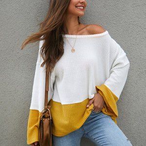 Women Round Neck Stitching Trumpet Sleeve Loose Sweater