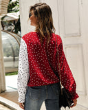 V Neck Polka Dot Splicing Bell Sleeve Shirt