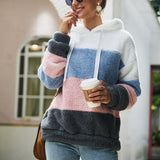 Women Contrast Color Hooded Plush Sweatshirt