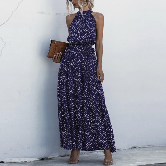 Navy Blue Wave Bohemian Boho Printed Hanging Neck Straps Maxi Dresses