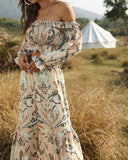 Boho Bohemian Printed Two-piece Tube Top High-waisted Loose Pants