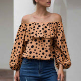 Women Sexy Off The Shoulder Puff Sleeve Polka Dot Shirt Top