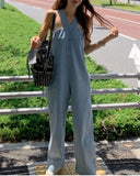 Suspenders Wide-leg Denim Jumpsuit Loose Jeans