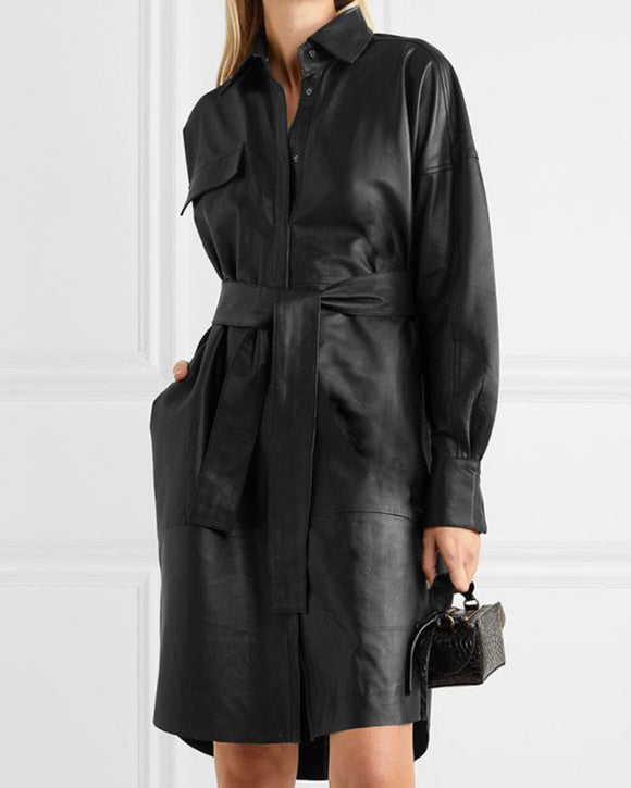 Lapel Collar Leather Single-breasted Outerwear Belted Coat