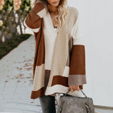 Women's Oversized Loose Splicing Sweater Cardigan