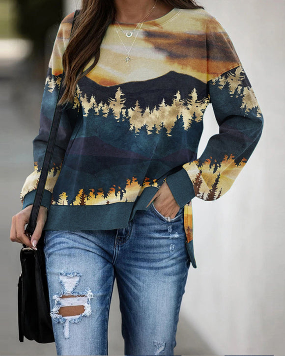 Round Neck Floral Printed T-Shirts Blouses Sweatshirts