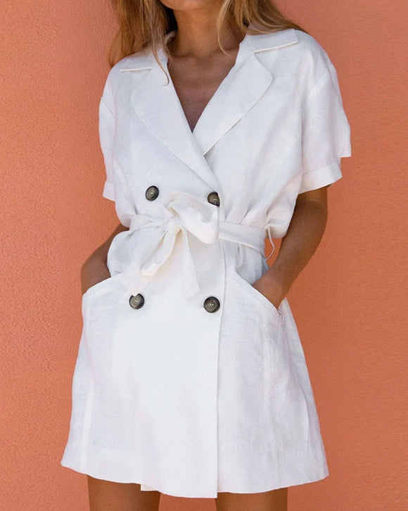 V-neck White Linen Cardigans Coats Mini Dress