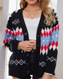 Argyle Pattern Geometry Single-breasted V-neck Sweater Outerwear Cardigan