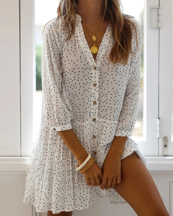 White Polka Dot Single-breasted V-neck Loose Mini Dress